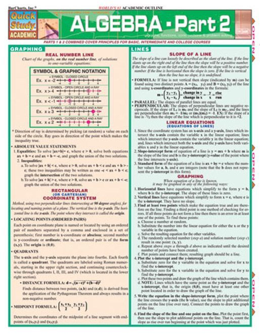 This advanced QuickStudy guide is designed for students who are already familiar with Algebra 1. This 6-page guide covers topics including real number lines, graphing and lines, types of functions, sequences and series, conic sections, problems and solutions and much more! Browse and download thousa