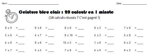 Ceintures de tables de multiplication fle charivari - Reviser les tables de multiplications ce2 ...