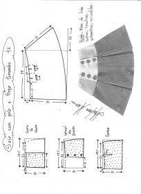 Esquema de modelagem de saia com pala e pregas fêmea tamanho 46.