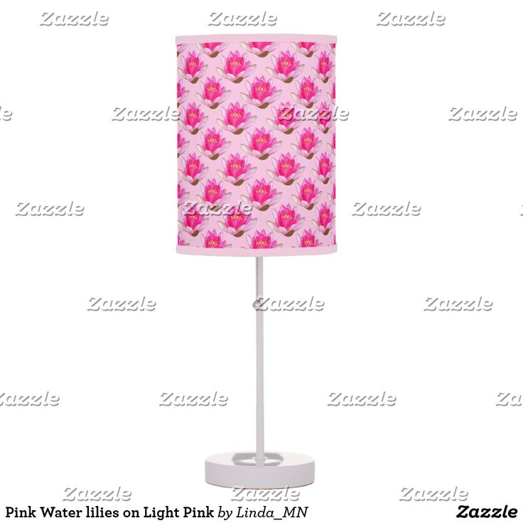 Pink Water lilies on Light Pink Desk Lamp
