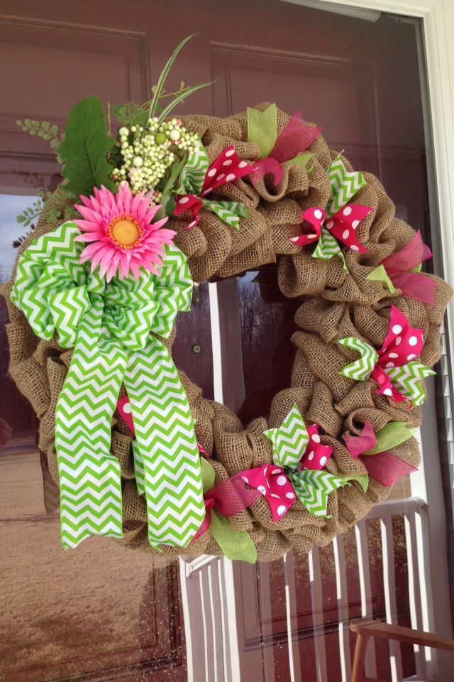 Spring Burlap Wreath, Pink Polka Dot, Green Chevron