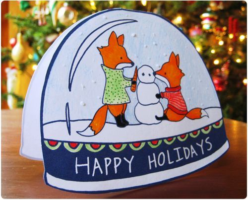 fox snow globe coloring pages - photo#41