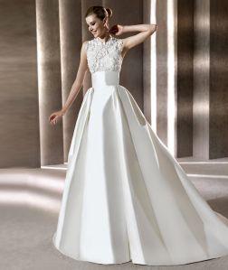 Tipos de tecidos para vestido de noiva: Zibeline. O Zibeline é tradicional e possui brilho delicado e acetinado. Ele é levemente armado, ideal para vestidos com saias amplas e tops estruturados. Tecido grosso e forte, é com ele que fazem a maioria dos corpetes dos vestidos de noiva.