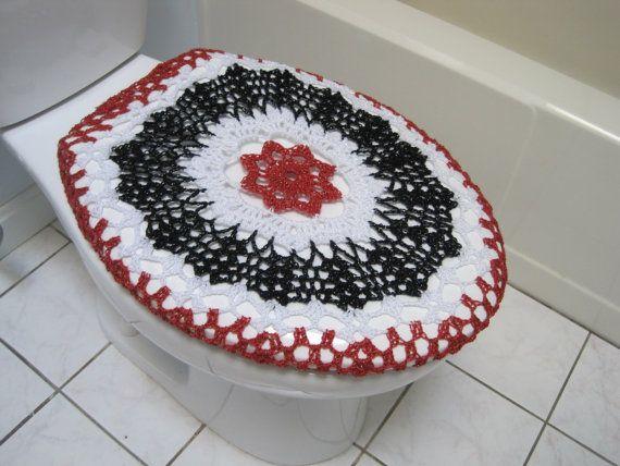 Crochet Toilet Seat Cover - red/black/white
