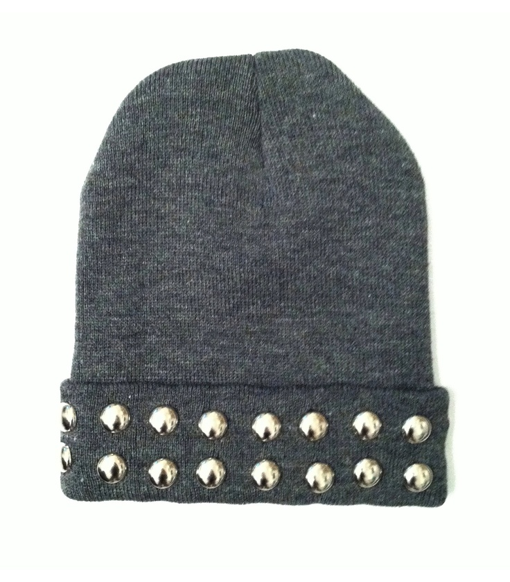 Studded Halo Beanie. $16.00, via Etsy. beanie, hat, winter, cozy, woven, studded beanie, studded hat, studded, studs, silver, square pyramid, edgy, hipster, goth