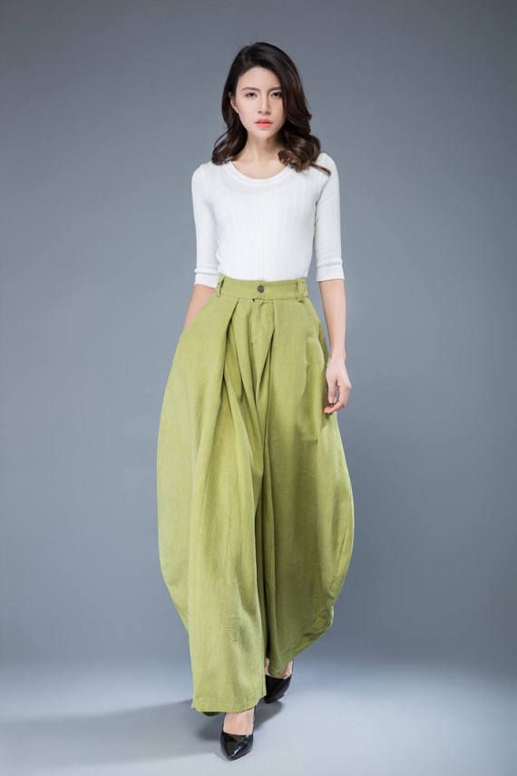 Lime  Green Loose fit Pants Wide Leg Pants Women's by YL1dress