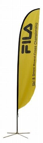 """Medium Feather Flag Banner Single Sided  Stand Total Height: 15.75ft Cross Base: Width 48"""" Banner Size: 29.5"""" x 149""""  Our medium single sided Feather flag banner stand is 15.75 feet tall. This package comes with a spike base, travel bag, elastic cord for tying the graphic banner to the base, and aluminum poles. The custom graphic banner is 29.5"""" wide and 149"""" high. It is sewn with pole pockets on the outside edge to allow for easy install on the poles. The medium Feather flag banner comes…"""
