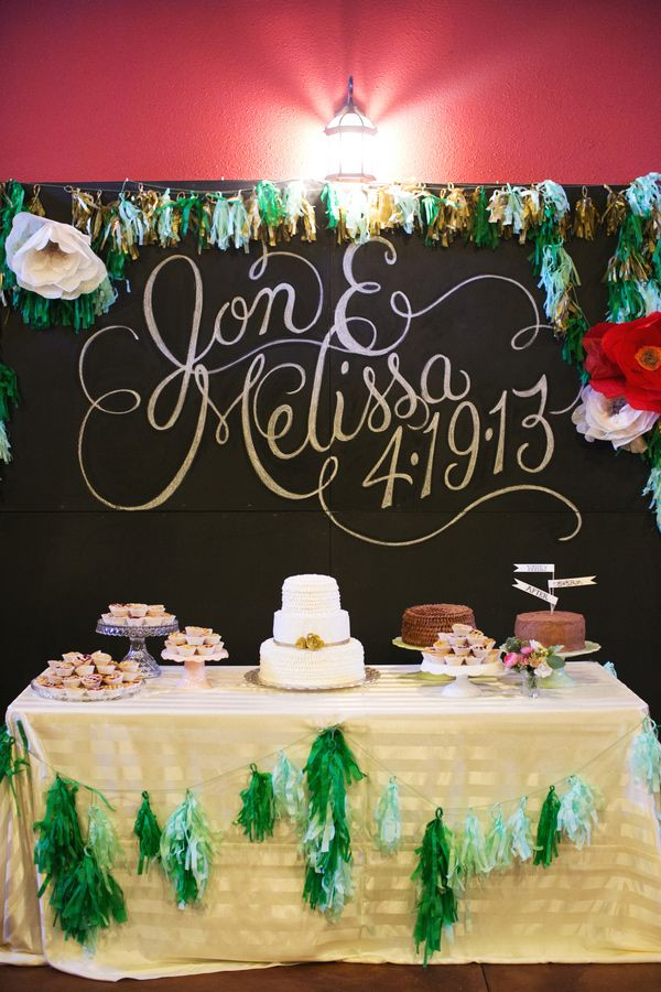 large + pretty names with wedding date // photo by EE Photo // View more: http://ruffledblog.com/sweet-oklahoma-wedding/