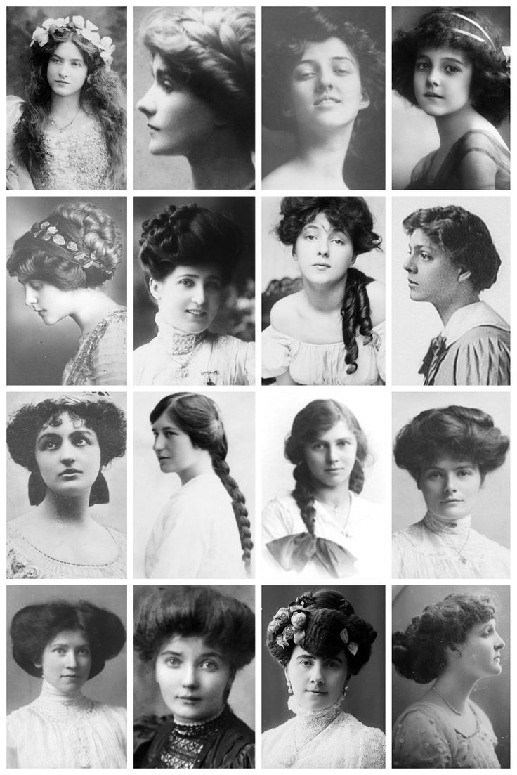 Edwardian Hairstyles A collection of Edwardian photographs, depicting some of the hairstyles of the time, like the Low Pompadour. Hatpin Hairstyle. Side-Swirls. Flapper (The title 'Flapper' originally referred to teenage girls who wore their hair in single plait which often terminated in a wide ribbon bow.) & the pompadour. Victorian Hairstyles Here [x]