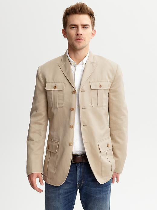 Military Style Blazer.   Can go casual or wear buttoned up with a tie. Nice!