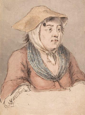 Louis Philippe Boitard, 1738-1763, Woman with a Blue Smock, undated, Graphite, watercolor, pen and black ink on medium, slightly textured, b...