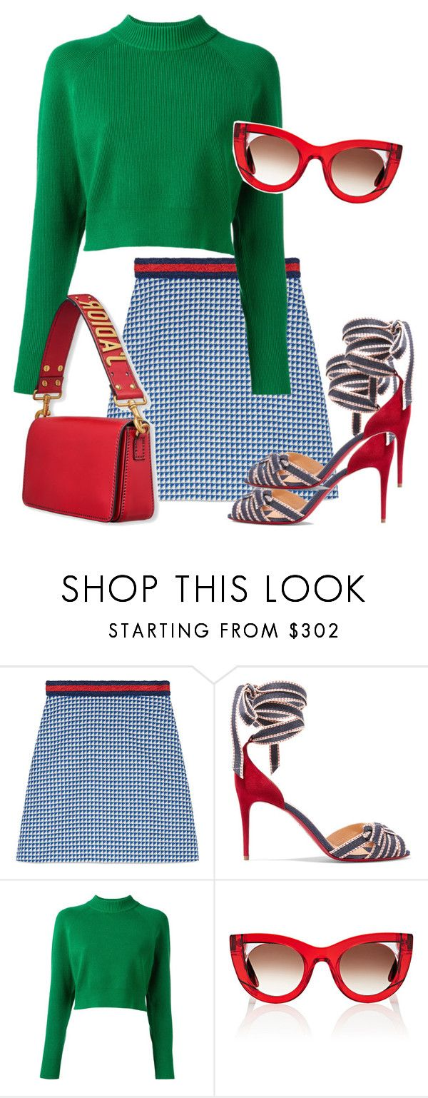 """A Preppy Look"" by kvogele on Polyvore featuring Gucci, Christian Louboutin, DKNY and Thierry Lasry"