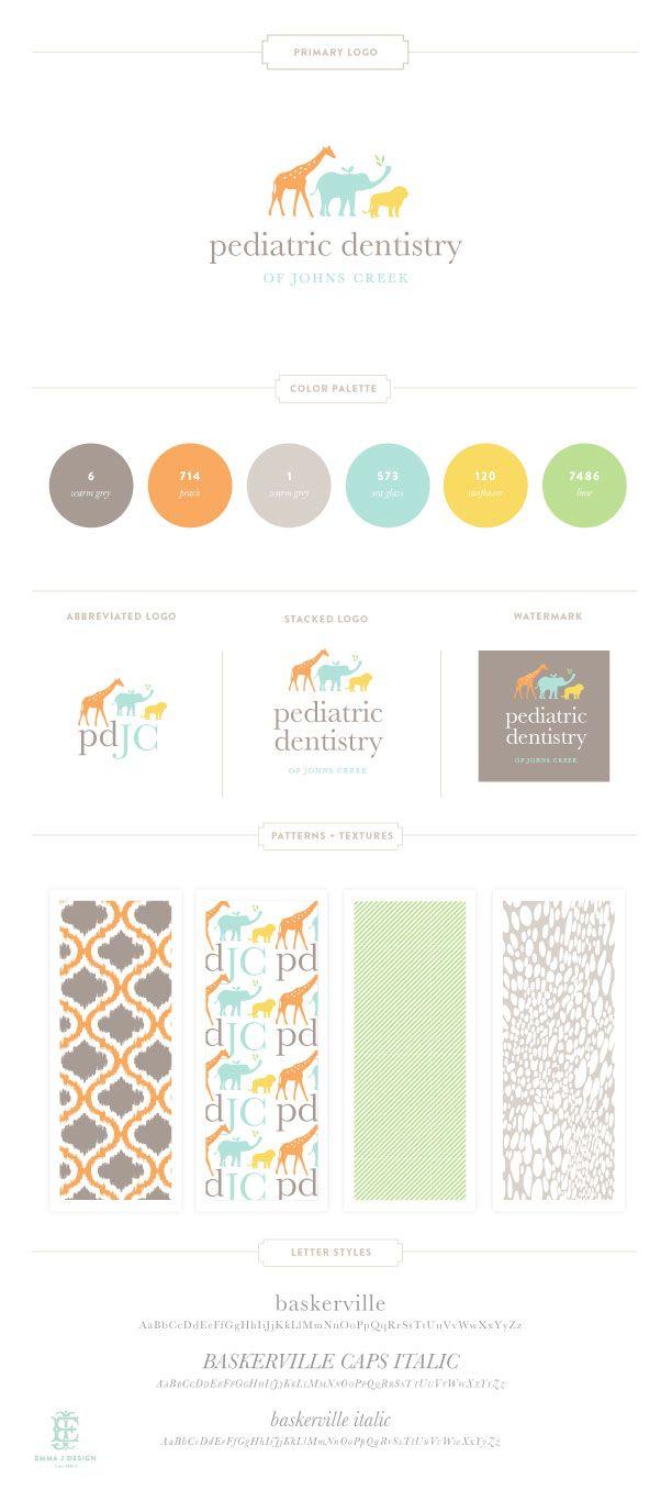 Beautiful, #modern and simple #branding. The power of #pastels! {JohnsCreek Pediatric Dentistry Branding Design by Emily McCarthy}