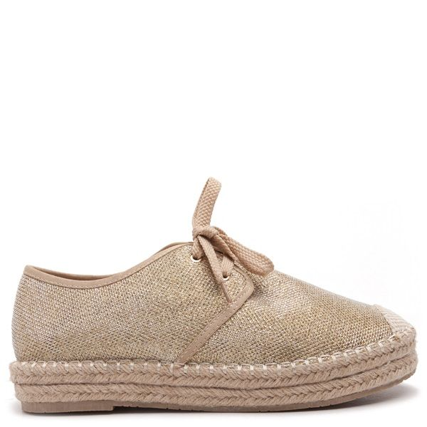 Gold textile espadrilles with beige woven texture on the toe cap.