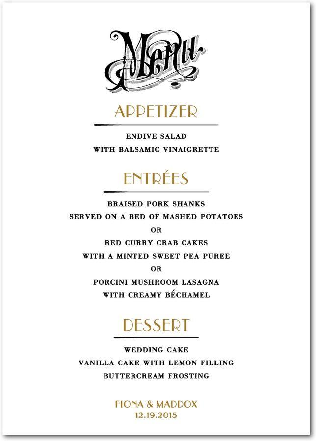 69 best Wedding Menus images on Pinterest   Wedding menu, Wedding ...