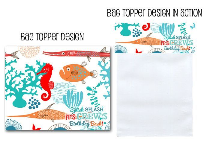 baggie toppers, favor bag toppers, bag topper, nautical decor, ocean party, fish, fish party, under the sea decor via Party box Design