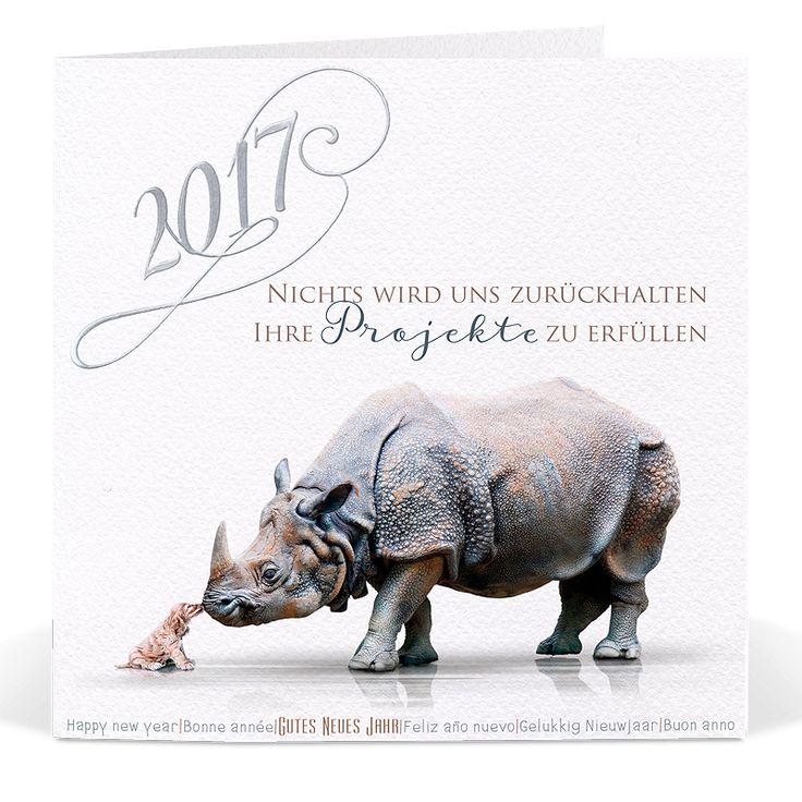 Lustige Neujahrskartenmit edler Silberfolienprägung online bestellen.
