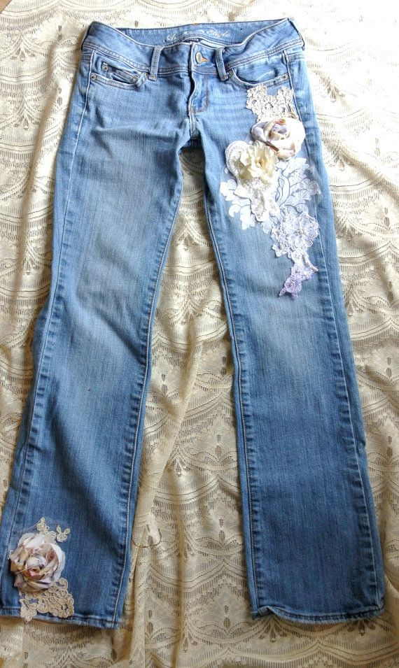 Embellished Jeans Boho Lace Jeans Romantic Clothes