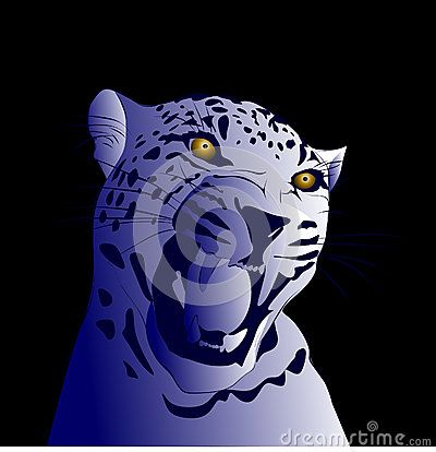 Blue shades drawn vector illustration of a leopard against a blue background.