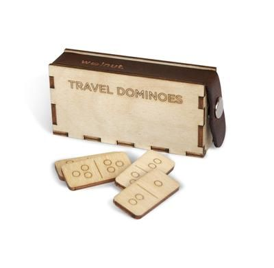 Walnut Studiolo Travel Games Travel Dominoes in Handcrafted Baltic Birch Box Travel Dominoes in Baltic Birch Box