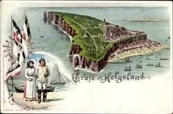 Litho Helgoland in Schleswig Holstein, Fischer, Patriotik, Totalansicht, Flagge, Fahnen