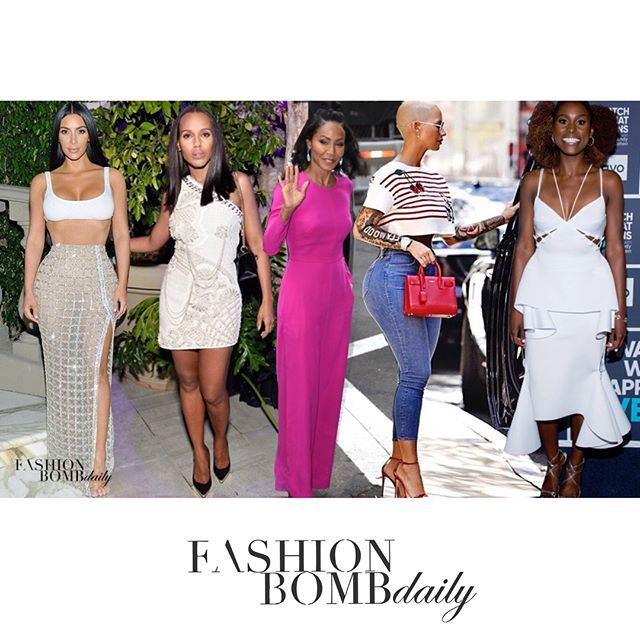 WEBSTA @ fashionbombdaily - It's that time where you get to cast your vote for Look of the Week. Chic contenders include @kimkardashian in @balmain , @kerrywashington also rocking #balmain , #jadapinkettsmith in @adamlippes and @sophietheallet , @amberrose in @dolcegabbana and @gucci and @issarae in @muehlederofficial . Who's got your vote? #fashionbombdaily #fashion #style #instastyle #instafashion #celebritystyle #realstyle #kimkardashian #balmain #kerrywashington #amberrose…