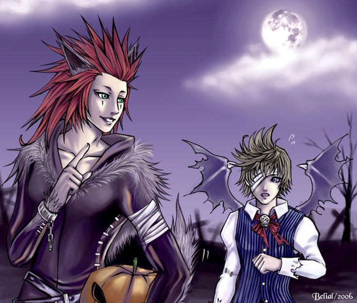 axel roxas walking together in halloween town axel try to scare roxas line with pigma colored with painter 9 thx for all comment walking in halloween - Roxas Halloween Town