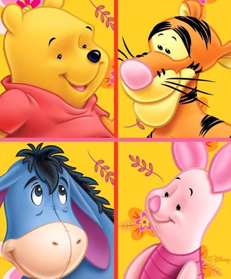 Montage of Winnie the Pooh, Tigger, Eeyore and Piglet