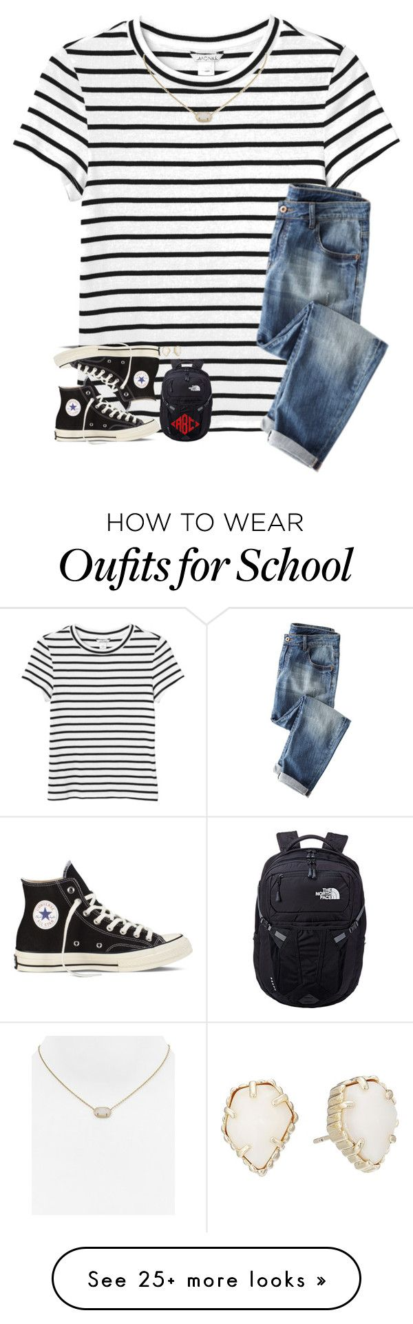 """""""Day 4: First day of school"""" by breezerw on Polyvore featuring Monki, Converse, Kendra Scott, The North Face and bestiesbacktoschool"""