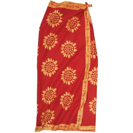 Red African Sun flower Printed Sarong