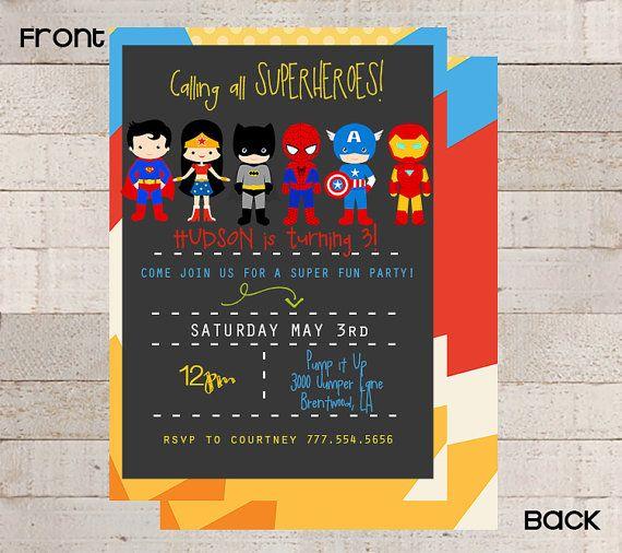 SUPERHERO Birthday Party Invitations- Batman Spiderman Superman Custom- Black Chevron- Modern- Boys Birthday- Birthday Party Wonderwoman
