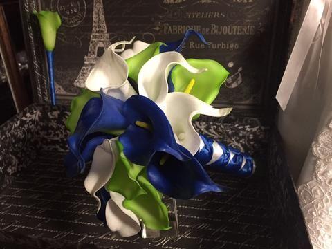 Royal Blue White Lime Calla Lily Bridal Bouquet Wedding Flower 2 Piece Set, Royal Blue White Bouquet, Lime Wedding Bouquet Blue Bridal