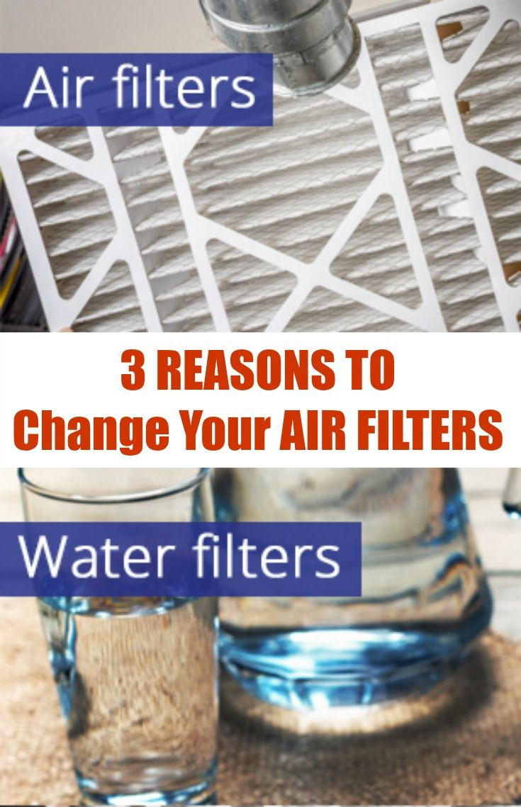 3 Reasons to Change your air filters. Your water and HVAC air filters need to be changed every 6 months. If you suffer from allergies, they should be changed more often.