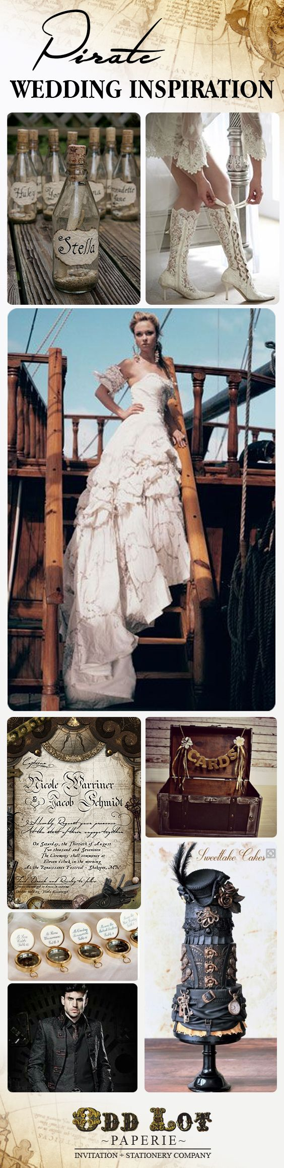 Stunning pirate themed wedding inspiration to pull of the perfect nautical pirate wedding ever!