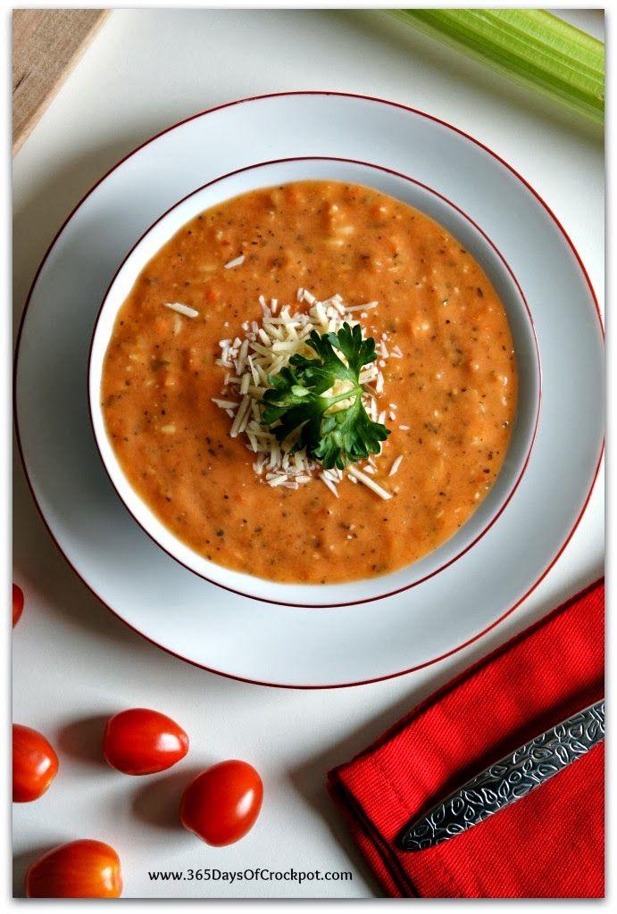 Slow Cooker Recipe for Skinny Tomato Basil Parmesan Soup #slowcookerrecipe #crockpot #soup