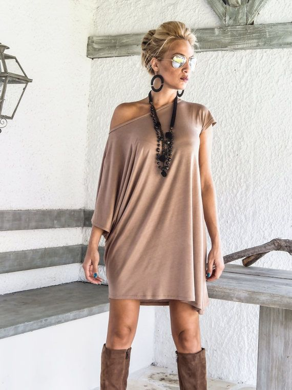 Taupe Asymmetric Dress Blouse Tunic / Plus by SynthiaCouture
