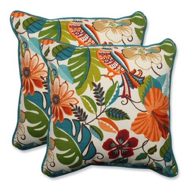 "18.5"" Jungle Floral with Parrots Square Decorative Throw Pillow (Set of 2), Orange, Outdoor Cushion"