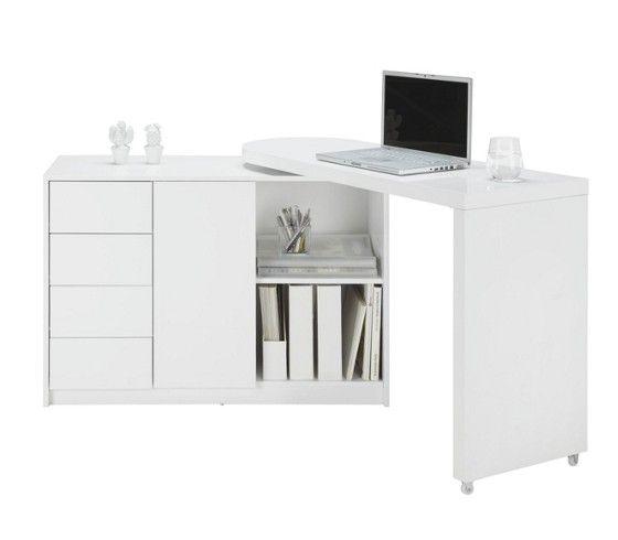 Komód: fehér magasfényű kivitelben, forgatható felsőrésszel, 1 ajtóval, 4 fiókkal, 2 nyitott tárolóval, Szé/Ma/Mé:kb.166/77/42cm
