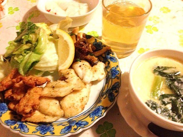 何とか夕食を作れました。 - 17件のもぐもぐ - カワハギのムニエル   茶碗蒸し by lalanoir