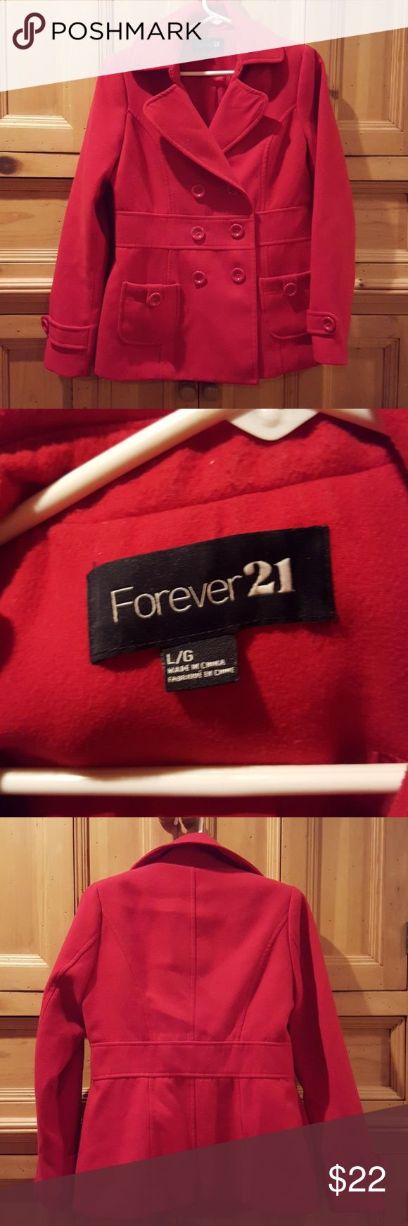 Forever 21 Red double breasted coat In excellent condition Forever 21 Jackets & Coats Pea Coats