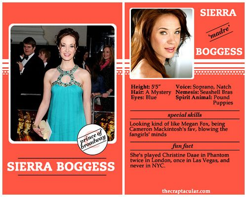 Sierra Boggess Player Card (I thought she played Christine at the Broadway 25th anniversary with Hugh Panaro?)
