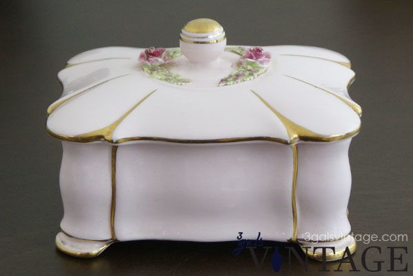 Vintage Dusky Pink Bone China Trinket Box with Gilt Edging by Adderley England - Front View. $35.00
