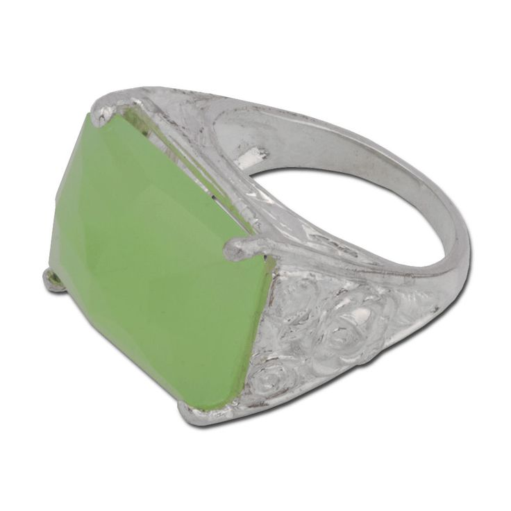 Handcrafted 925 sterling silver Ring rectangle Green Quartz size 7 - 9…