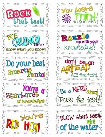 Classroom Freebies: Candy Motivational Test Notes