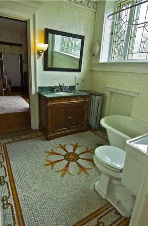Great Bathroom In An Historic Building. I Love The Mosaic Tile Floor!