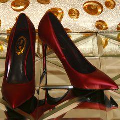 Одиночные женская осень новые тонкие заостренные туфли на высоком каблуке с 10см карьеры бордовый свадебные туфли мелкой рот свадебные туфли