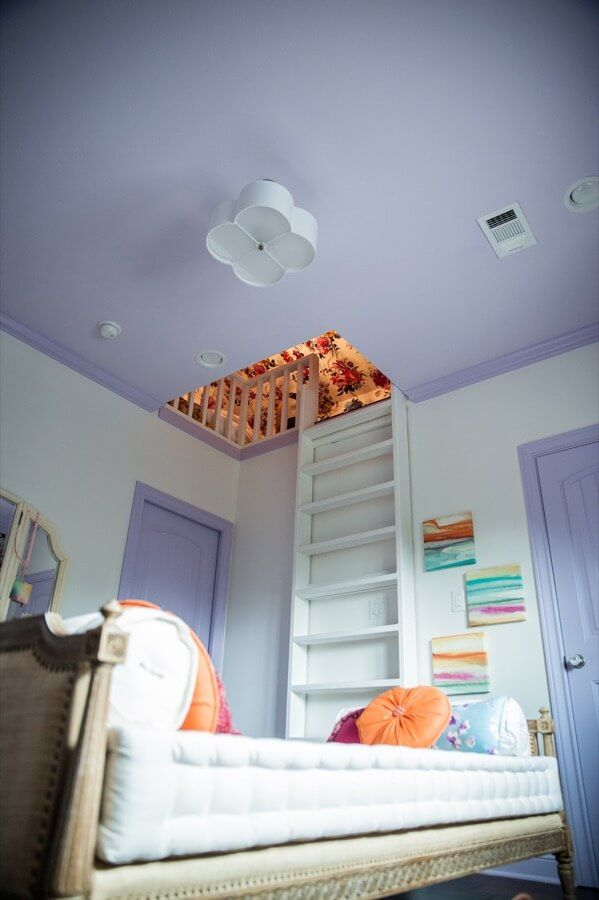 Teen Girl's room with a secret loft | Jenny Tamplin Interiors | College Station TX More