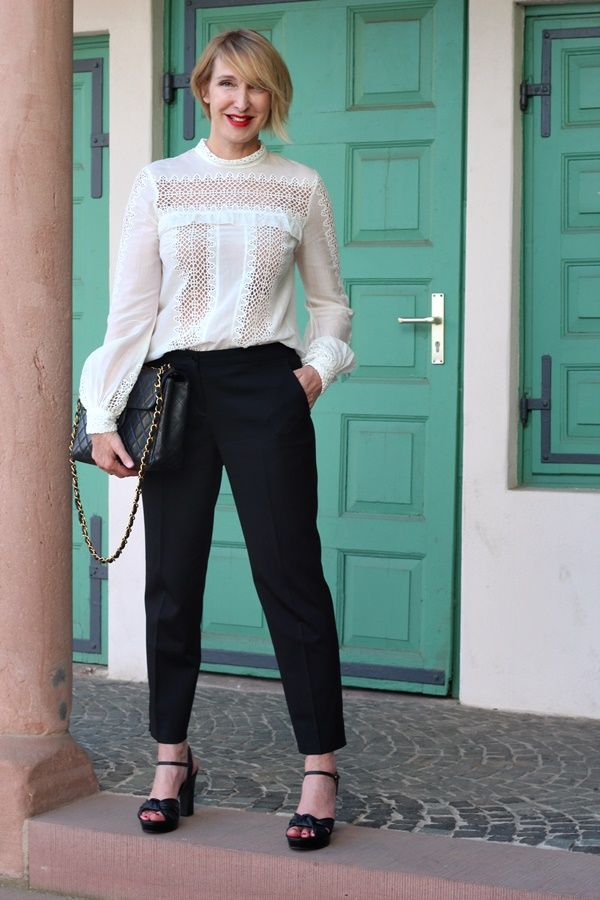 A fashion blog for women over 40 and mature women   Blouse: Mr. Self-Portrait Pants: Etro Bag: Chanel Sandals: What for