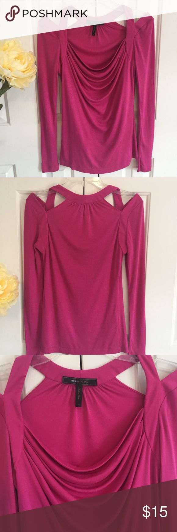 "NWOT! BCBG MaxAzria TOP On trend now: cold shoulder top from BCBG. Cowl neck. Long sleeves. 17"" pit to pit. 25"" shoulder to hem. 25.5"" arm length. 100% Modal. So soft. Magenta. New Without Tags. BCBGMaxAzria Tops"