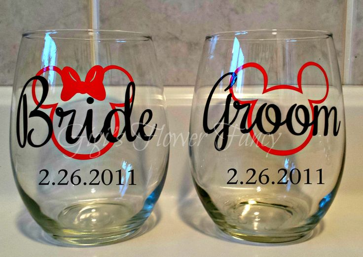 Mickey & Minnie Bride and Groom Wedding Wine Glasses with date, name, Venue Coordinate Customized, magic band decals by GigisFlowerFancy on Etsy